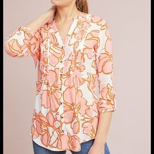 Maeve Anthropologie floral pleated blouse size M